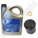 Oliewisselset, kleine beurt, 900NG, 9-3v1, 9-5, benzine, 5 liter GM longlife 5W30 motorolie synthetisch, ond. nr. 93165557, 93165212, 93186554