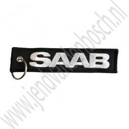 Sleutelhanger, SAAB, zwarte achtergrond, 130x30mm