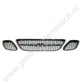Grille set 3-delig, honey comb, chrome, chrome/zwart, matzwart, Saab 9-3 versie 2, bouwjaar: 2003 tm 2007, ond. nr. 12797998, 12797997, 12797999