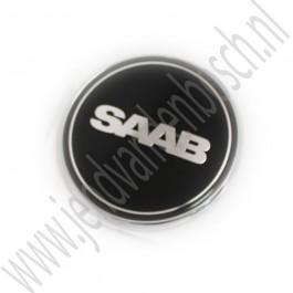 Motorkapembleem, zwart, Nevs-uitvoering, Saab 9-3 versie 2 en Saab 9-5 bouwjaren 1998-2012, ond.nr. 2100003, 12844161