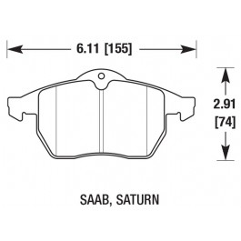 Performance remblokkenset voor, Hawk, Saab 9-3v1, 900NG, 9-5, bj 1998-2010