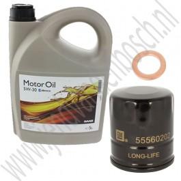 Oliewisselset, kleine beurt, 900NG, 9-3v1, 9-5, benzine, 5 liter GM longlife 5W30 motorolie synthetisch, ond. nr. 93165557, 93165212, 93186554, 32019632