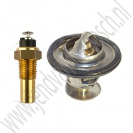 Thermostaat en temperatuur sensor set, 82 graden, Origineel, Saab 900 Classic, 9000, bj 1981-1993, ond.nr. 8817538, 30539720