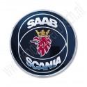 Achterklepembleem, Saab Scania, Saab 9000 CS, 900NG, bouwjaar 1992 tm 1998, org. nr. 4171856 Uitvoering met reflectorplaat