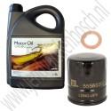 Oliewisselset, kleine beurt, 10w40 semi-synthetisch, 900, 9000, 9-3v1, 4-cilinder injectie-motoren, ond.nr. 93165216, 9144445