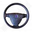 Leren stuur met airbag en radiobedieningsknoppen, gebruikt, Saab 9-3 versie 2, bouwjaar 2006 tm 2011, ond. nr. 12757872, 12774365