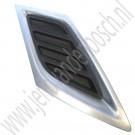 Grille deel, rechts voor, Chrome mat, standaard uitvoering, gebruikt, Saab 9-3 versie 2, bouwjaar 2008-2012, ond.nr. 12765504, 12829566