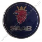 Saab Motorkapembleem, origineel, 50 mm, Saab 900 Classic, 900NG, 9000,  9-3 versie 1, bouwjaar 1983 tm 2002, ond. nr. 5289871