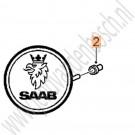 Bus, motorkapembleem, origineel, Saab 900 Classic, 9000, 900ng, 9-3 versie 1, ond.nr. 6915706, 32020110