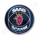 Saab Scania embleem achterklep, Saab 900 Classic 1979-1993, 3-5 deurs, ond.nr. 6941264