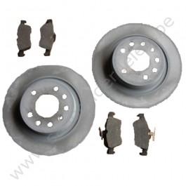 Achterremschijven- en blokkenset, Origineel, 15 inch,  Saab 9-3 sport bj: '03 tm '12 art. nr12762290 art. nr13322091 art. nr93186300