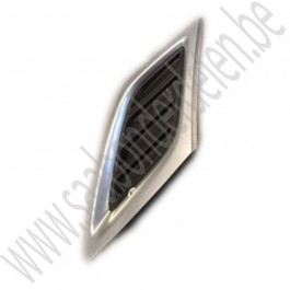 Grille deel, links voor, Chrome mat, standaard uitvoering, gebruikt, Saab 9-3 versie 2, bouwjaar 2008-2012, ond.nr. 12769755, 12829567