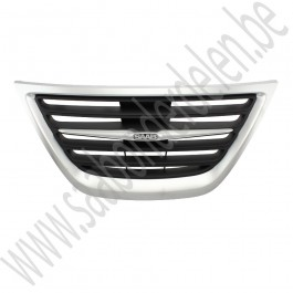 Chrome-zilverkleurig middendeel van grille, Origineel, Saab 9-3 bouwjaar: 2008 tm 2012 ond. nr. 12769758, 12829570, 12824618