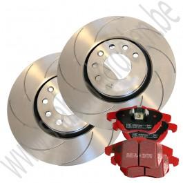 Performance remmenset, gegroefde schijven, EBC Redstuff remblokken, voorzijde, 16 inch, 302 mm, Saab 9-3 v2, ond.nr. 93171500, 12803551