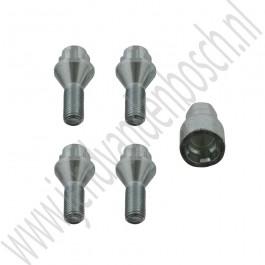 Wiel slotboutenset M12, OE-Kwaliteit, Saab 900NG, 9-3v1, 9-3v2, 9-5, bj 1994-2010, ond.nr. 400102166, 12798335, 32025807