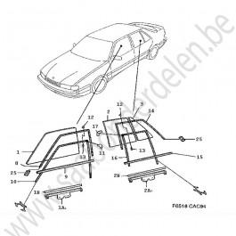 Raam portier Saab 9000  Bouwjaren 1991 - 1998 art.nr LV: 4550943 RV: 4550935 LA: 4306239 RA: 4306221 LA^ 4306254 4765178 RA^ 4306247 465160