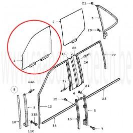 Occasie zijvoorruit, L en of R, Saab 9-5, bj. '98-'10, art. nr. L: 5363957, 4767570, R: 5363965, 4767588