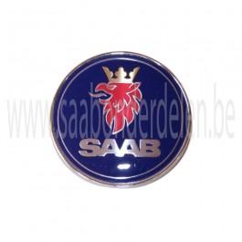 Embleem, achterklep, aftermarket, Saab 9-3 versie 1, drie- en vijfdeurs, bouwjaar 1998 tm 2002, org. nr. 5289889, 4910907