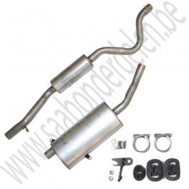 Uitlaat demperset, Aftermarket, Saab 900 Classic, carburateur en injectie motoren, bj: 1986-1993, ond.nr. 8819690, 5466180, 5466198