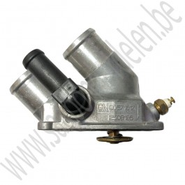 Thermostaathuis, compleet, incl thermostaat, temperatuursensor, Origineel, Saab 9-3v1, 2.2 TiD, bj 1998-2002, ond.nr. 9543786, 4772190, 90571617, 2503185