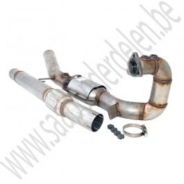 3 inch downpipe met sport katalysator, BSR, Saab 9-3v1, 900NG, bj 1994-2002,  ond nr. 4105631, 5325501, 4962221, 4624227, 4623104, 4962072
