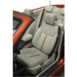 Elektrisch verstelbare leren stoelen met achterbank, nieuw, oranje bies, Saab 9-3 sport cabrio Independence Edition ond.nr. 12801489, 12801490, 12801491, 12801492