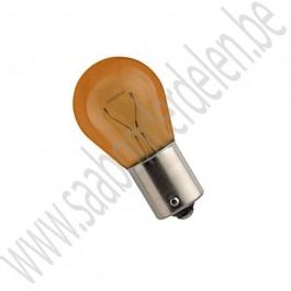 P21W 21W lampje, Oranje, BAU15s versprongen bajonetfitting, Saab 9000, 900NG, 9-3v1, 9-3v2, 9-5, ond.nr. 93190465, 12795069, 446893