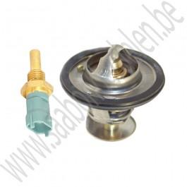 Thermostaat en sensor set, 89 graden, Origineel, Saab 9-3 v1, 9-5, bj 1998-2010, ond.nr. 30577561, 15393755