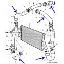 Nw. silicone intercooler slangenset van 5 stuks, Saab 9-3V2, 2.2 diesel, bj. 2003-2005, art. nr. 12786818 12790041 12787694 12790043 12786812