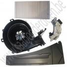 Kachelventilatorset + modificatie, ACC, Saab 9-3 versie 2, bouwjaar 2003-2012, ond.nr. 13250115, 13250114, 12765989, 9179904