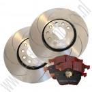 Performance remmenset, gegroefde schijven, EBC Redstuff remblokken, voorzijde, 16+ inch, 314 mm, Saab 9-3 v2, 9-5, ond.nr. 93175606, 12802167